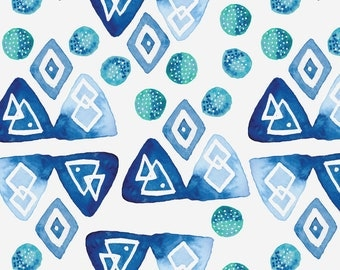 Indigo Watercolor Geometric Fabric - Watercolor Blues By Kellyparkersmith - Abstract Watercolor Cotton Fabric By The Yard With Spoonflower