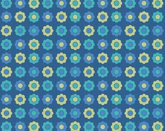 Retro Flowers Fabric - Kuler Flowers By Ebygomm - Little Blue and Yellow Flowers Cotton Fabric By The Yard With Spoonflower