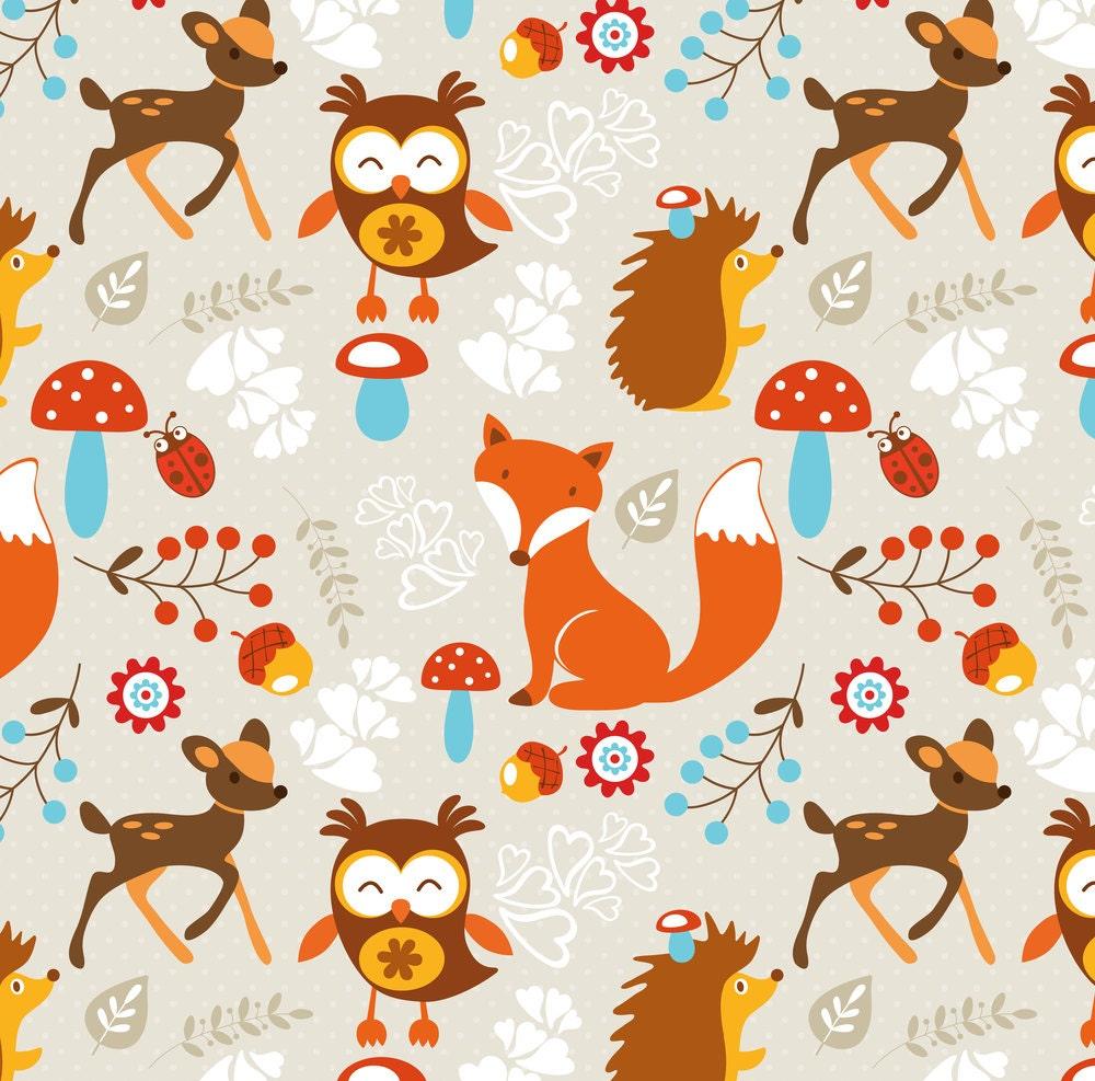 Woodland fox fabric woodland creatures by rocky rocks for Baby nursery fabric yard
