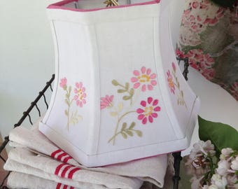 "Pink Lamp Shade Embroidery Lampshade, Small Lampshade, Clip Top, 5""t x 8""b x 6""high, Thick Embroidery, Linen Lamp Shade, Girl's Decor"