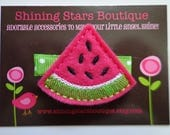 Hair Accessories - Summer Picnic Hot Pink and Lime Green Embroidered Felt Watermelon Fruit Slice Boutique Hair Clippie