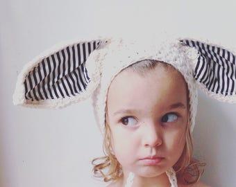 Black Stripe Knit Baby Bunny Bonnet  - knit baby hat - easter bonnet - white black stripe hat - little boys bonnet hat - crochet stripe hat