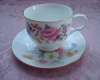 Sadler Wellington Tea Cup and Saucer Set, Shabby Pink Roses, Cottage Shabby, Shabby Chic, Tea Time, Tea Party, Floral Bouquet, Coffee Cup