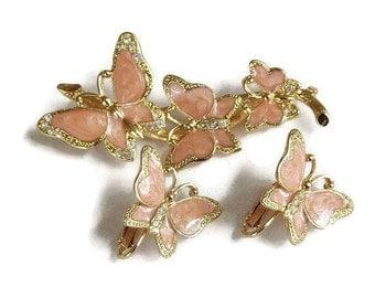 Vintage Swirl Poured Pink Enamel & Clear Rhinestones Butterfly Brooch and Earrings Demi Set