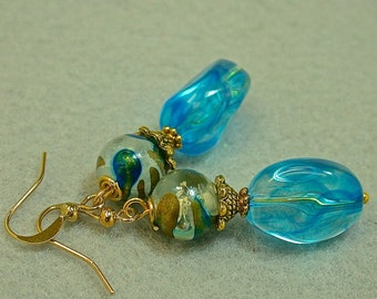 Vintage Japanese Lucite DEEP Aqua Blue Swirl Dangle Dangle Drop Earrings ,Japanese Gold Blue Clear Bead,Gold French Ear Wires - GIFT WRAPPED