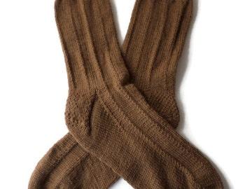 "Socks - Hand Knit Men's Brown ""Pinstriped"" Socks - Size 9- 10"