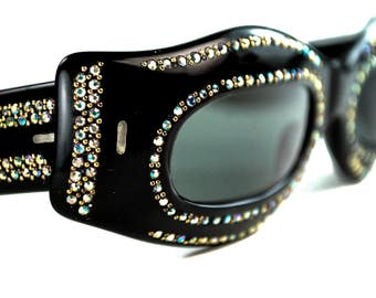 Black Rhinestone Mask Eye Spy Jeweled Shield Party Sunglasses  France Optical NOS Vintage 1950s