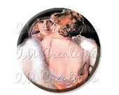 "15% OFF - Pocket Mirror, Magnet or Pinback Button - Wedding Favors, Party themes - 2.25""- Vintage 1920s Flapper's Reflection MR351"