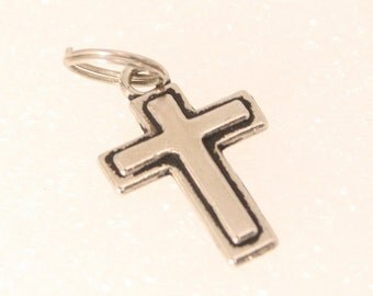 Vintage Silver Cross Charm Inlaid Black Outline Religious Cross Christian Pendant Fob