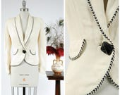 Vintage 1940s Jacket - Elegant Ribbed Ivory 40s Sportcoat with Shawl Collar and Braided Black and White Trim and Huge Button