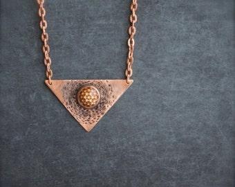 ON SALE Mars Settlement Copper Triangle Pendant Necklace Oxidized Metalwork Geometric Dome Rust Brown Burnt Orange Boho Jewellery