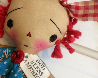 America Raggedy Ann - Raggedy Annie doll - God bless America - Americana - ragdoll - fourth of July doll - America -