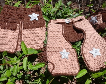 Custom Cowboy Set.  Hat, Boots, Vest, and Chaps.  Made to Order,  Sz NB to toddler 4.  Photo Prop, Costume etc...