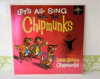 Vintage 1950s David Seville and the Chipmunks Vinyl Record Album Let's All Sing with the Chipmunks 33 1/3 Record