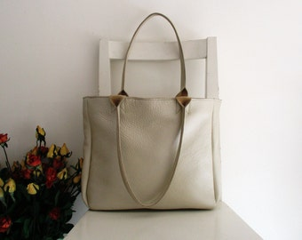 Pearl White Leather Tote Shoulder Bag