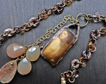 "Resin pendant necklace with lampwork beaded chain - ""Ever Young"""