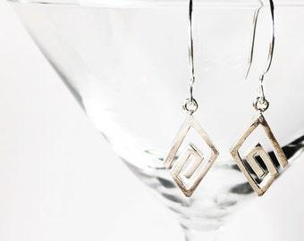 Sterling Silver Geometric Earrings, Sterling Silver Drop Earrings, Silver Geometric Jewelry, Sterling Silver Modern Earrings, Gifts for Her