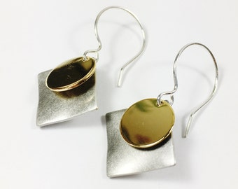 Silver and Gold Mixed Metal Earrings, Mixed Metal Geometric Earrings, Gifts for Her, Geometric Silver Earrings, Geometric Gold Earrings