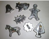 Blow Out Sale Aluminum Cookie Cutters - Vintage Holiday Cookie Cutters - Gingerbread Man Horse Bell Tree - Set of 7 Cookie Cutters - Group 2