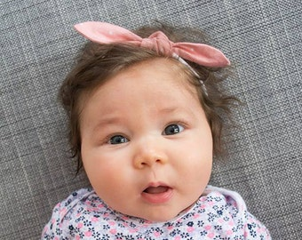 Knot bow nylon headband pink white dots, baby girl hair wrap, newborn bow headband, toddler knot headband, party favor gift stocking stuffer