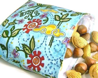 Eco-friendly | Reusable sandwich bag | Snack | Lunch pouch | Water repellent | Bird flower turquoise | School | Teachers gift | Party favor