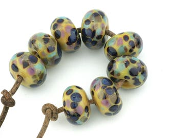 Earthtones Handmade Glass Lampwork Beads (8 Count) by Pink Beach Studios - SRA (2167)