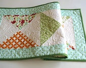 Spring Floral Patchwork Quilted Table Runner in Orange, Blue and Green - PRICE REDUCED