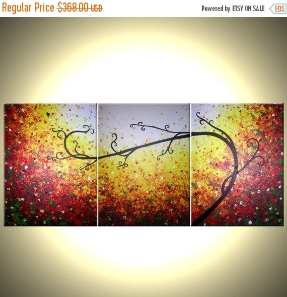 Original Large Abstract Red Tree Original Landscape Painting by Dan Lafferty - 30 X 72 - ONE DAY Sale 22% Off