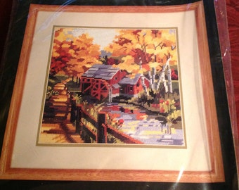 Vintage--1990--Bucilla--Needlepoint Kit--Autumn Watermill--4637--Sealed--Unused