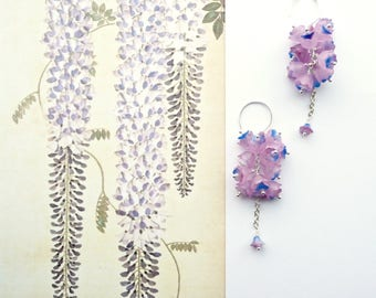 SWEET PEA Earrings, Long Lilac Earrings, Bridal Dangles, Cottage Chic Dangles, Floral Cluster Earrings, Long Art Nouveau Earrings