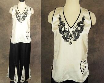 vintage 30s Beach Pajamas - Black and White Embroidered Silk Shirt and Palazzo Pants 1930s Asian Pajamas Lounge Wear Sz M