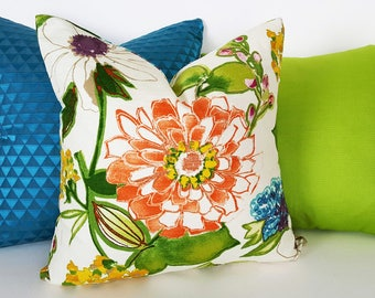 Modern Floral Pillow, Colorful Floral Cushions, Orange Green Blue Pillows, Modern Pillow Covers, Modern Summer Pillow, 12x18 18x18 20x20