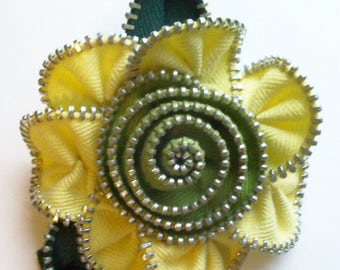 Canary Yellow and Chartreuse Green Floral Brooch / Zipper Pin by ZipPinning 2988