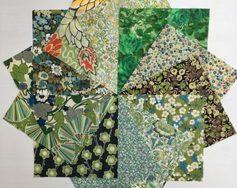 Liberty lawn GREEN charm pack - 12 Liberty of London Tana Lawn  Fabric 5 inch squares