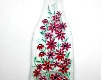Spoon Rest, Kitchen Trivet,  Melted Clear Beer Bottle,  Hand Painted Shades of Red Flowers,  Candle Holder