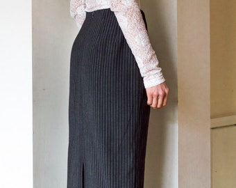 vintage 90s long pinstripe maxi skirt with split UK10