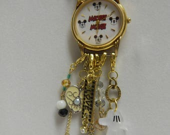Up Cycled Repurposed Disney Watch Steampunk Necklace Mickey Mouse