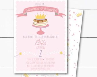 Princesses and Pancakes Breakfast Birthday Party Invitation