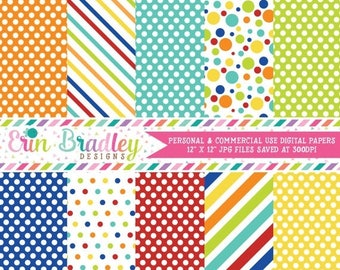 50% OFF SALE Easter Boys Digital Papers Blue Red Orange Yellow Green Stripes & Polka Dots Digital Paper Pack Instant Download