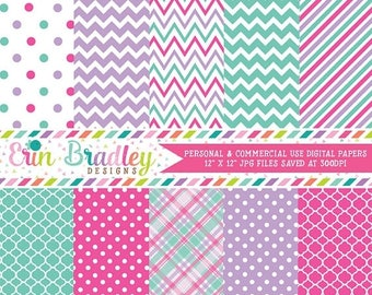 50% OFF SALE Digital Paper Pack Personal and Commercial Use Blue Pink & Purple Medley Instant Download