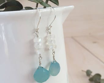 Blue Chalcedony and Moonstone Teardrop Earrings