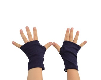 Toddler Arm Warmers in Aubergine Navy - Dark Blue Eggplant - Organic Cotton Fingerless Gloves - LAST PAIR