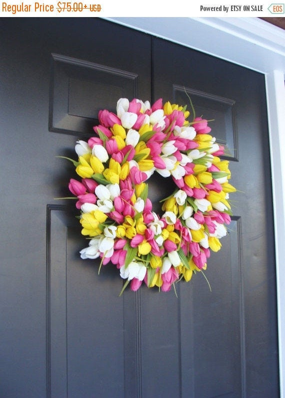 SPRING WREATH SALE Silk Thin Spring Tulip Wreath, Storm Door Wreaths, Front Door Outdoor Wreath,  Front Door Spring Decor Sizes 14-24 inch
