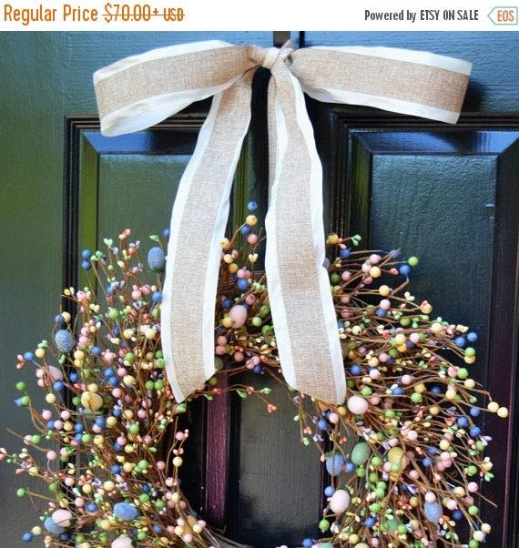 SPRING WREATH SALE Easter Wreath- Pastel Door Wreath- Spring Wreath- Easter Egg Decor- Easter Decoration- Berry Wreath- Easter Berry Wreath-