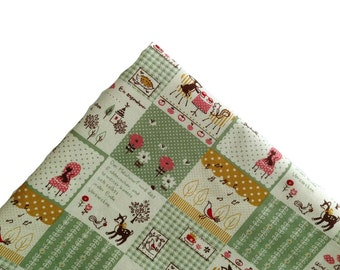 Fabric, Green, Yellow, Plaid, Quilt, Canvas, cute, crafting, flowers, children, deer, garden, baby, tree, cartoon, animal, forest, ONE YARD