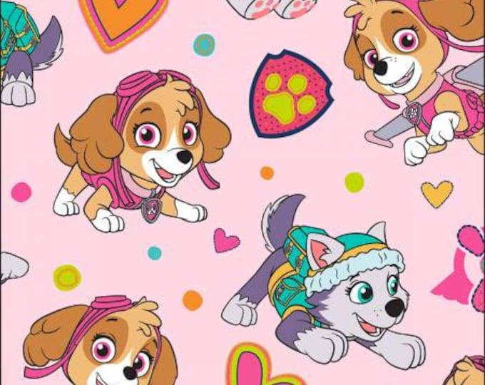 Childrens Fleece Fabric, Paw Patrol Playful Pups Pink Fleece Fabric