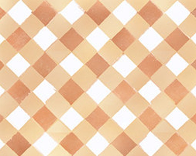 Children's Fabric, Cuddle Time Cream/Brown Gingham Check by Quilting Treasures