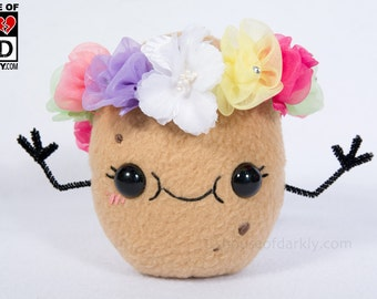 Pretty Potato cute smiling food plush with flower crown