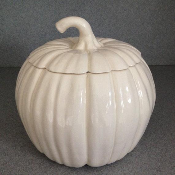 Ceramic White Pumpkin Cookie Jar Wedding By Suesuesuecrafts