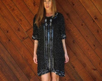 extra 30% off sale . . . Black Beaded SILK Mini Shift Dress - Vintage 80s - MEDIUM